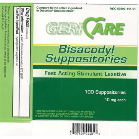 McKesson Geri Care Bisacodyl Suppositories,Bisacodyl Suppositories,12/Case,BIS-12-GCP