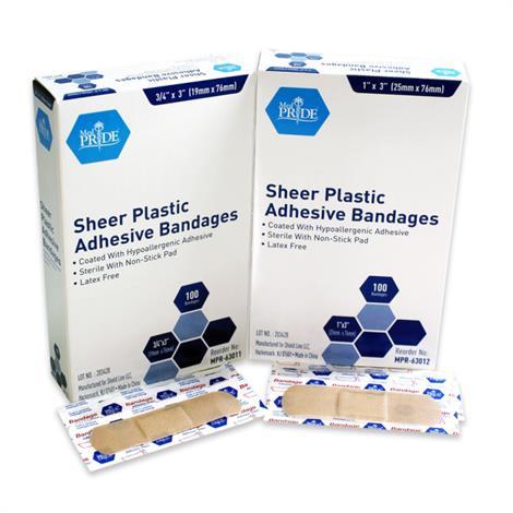 MedPride Sheer Plastic Adhesive Bandages,1 x 3,100/Pack, 24Pk/Case,MPR-63012
