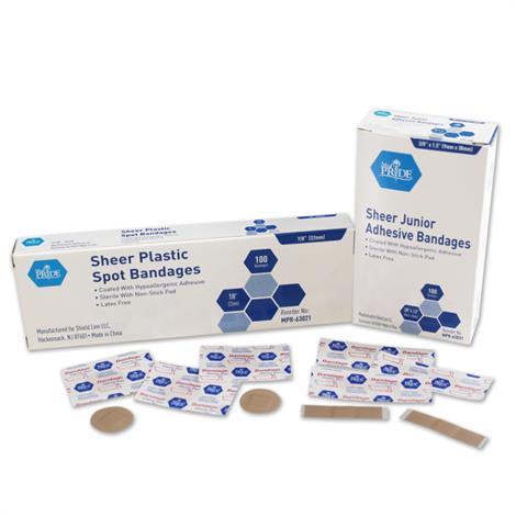 MedPride Sheer Spot Adhesive Bandages, 3/8 x 1 1/2,100/Pack, 36Pk/Case,MPR-63031