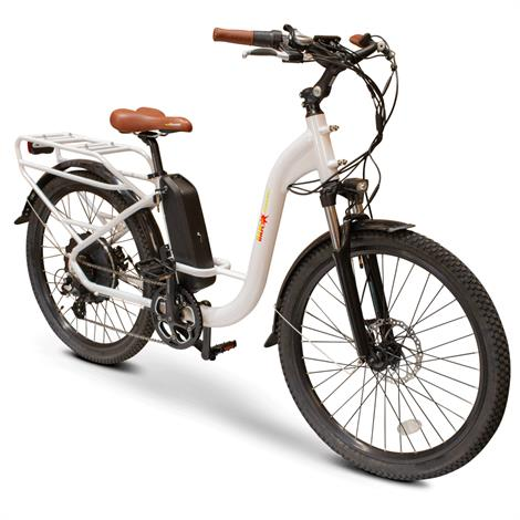 EWheels Step Thru Electric Bike,White,Each,EW-STEP THRU