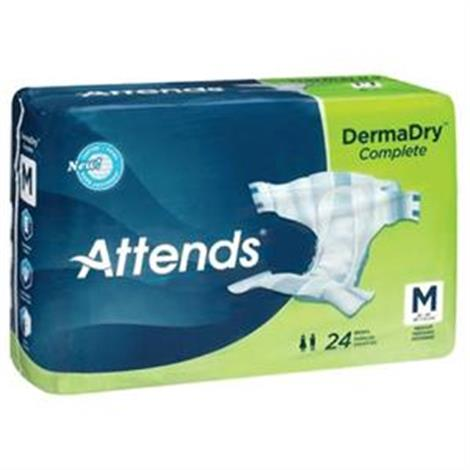 Attends DermaDry Complete Briefs,Medium,24/Pack,4Pk/Case,DDC20
