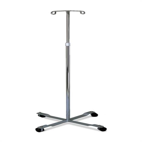 Medline Chrome Four Leg IV Poles,Chrome IV Pole with 2 Hooks,4 Casters,Each,MDS80441