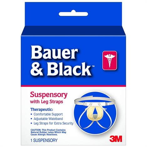 3M Bauer & Black Scrotal Support Suspensory With Leg Straps,Medium - (Size 0 to 2),Scrotal Support Scrotal Support,48/Case,201161