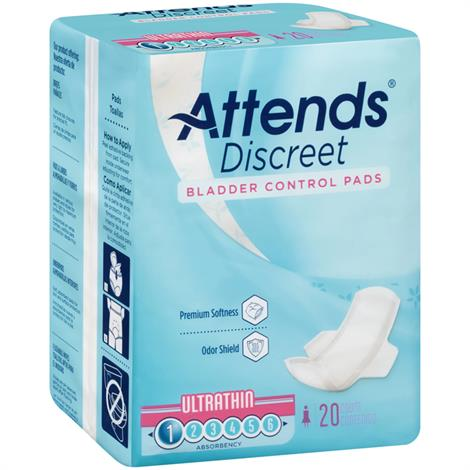 Attends Discreet Ultrathin Pads,Pad,20/Pack,ADPTHIN