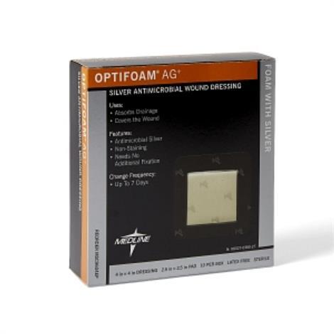 Medline Optifoam AG Plus Silver Wound Dressings,4