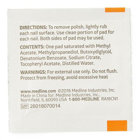 Medline Nail Polish Remover Pads,Polish Remover,1000/Pack,MDS090780