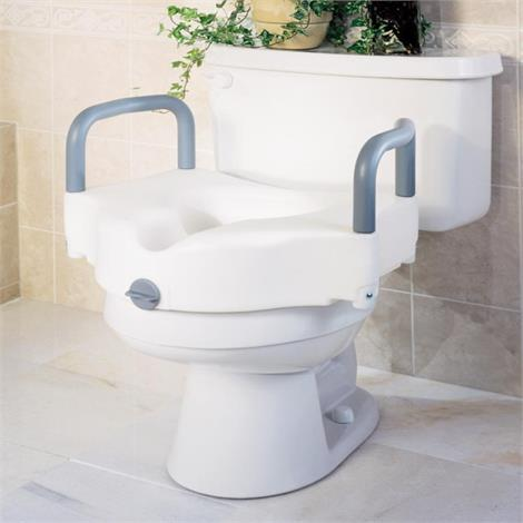 """Medline Locking Raised Toilet Seats with Arms,5"""" With Arms,3/Case,G30270A"""