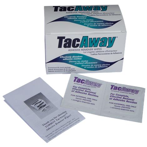 Torbot TacAway Adhesive Remover Wipes,Individually Wrapped Wipes,50/Pack,MS408W
