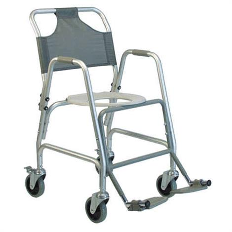 "Graham-Field Deluxe Shower Transport Chair with Footrests,Aluminium,Seat 14""W x 16.50""D,Each,7915A-1"