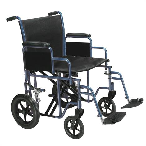 "Drive Bariatric Steel Transport Chair With Swing-Away Footrests,20"",Blue,Each,BTR20-B"