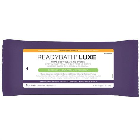 Medline ReadyBath LUXE Total Body Cleansing Heavyweight Washcloths,Antibacterial,Fragrance Free,8/Pack,24Pk/Case,MSC095101