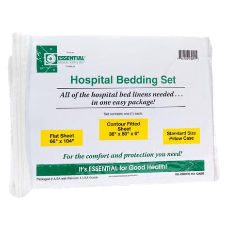 "Essential Medical Hospital Bed Set with Jersey Knit Fitted Sheet,9""L x 11""W x 3""H,Each,C3055K"