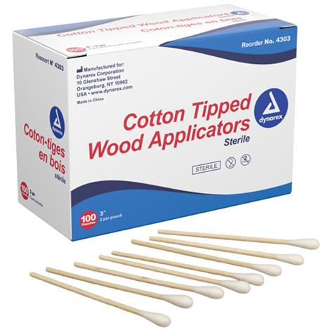 "Dynarex Cotton Tipped Applicator with Wood Shaft,6"" Sterile,Highly Absorbent,2/Pack,4305"