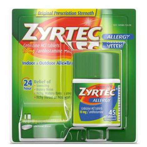 Johnson & Johnson Zyrtec Allergy Relief Antihistamine Tablet,10 mg,45 Tablets,Each,20438