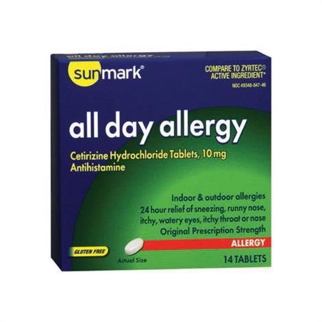 Sunmark All Day Allergy Tablet,Allergy Tablet,Bottle,30/Pack,3960754