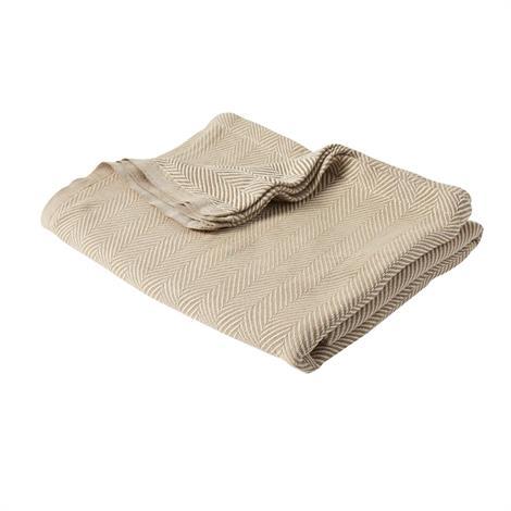 """Feels Like Home Lightweight Spread Blanket,Beige/White,Chevron,70"""" x 90"""",12/Case,MDTSB8B27BEI"""