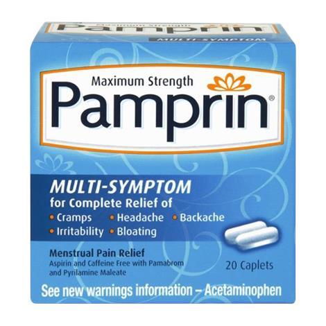 Pamprin Maximum Strength Multi-Symptom Menstrual Pain Relief Caplet,Menstrual Pain Relief Caplet,20 Caplets,20/Pack,4116730012