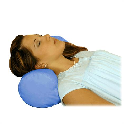 "Essential Medical Round Cervical Pillow,Blue Satin Cover,6"" X 18"",Each,N5005"