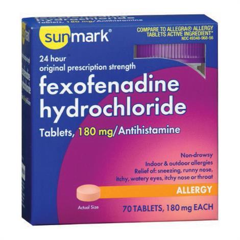 Mckesson Sunmark Fexofenadine HCl Allergy Relief,180mg Strength,15/Pack,3958873