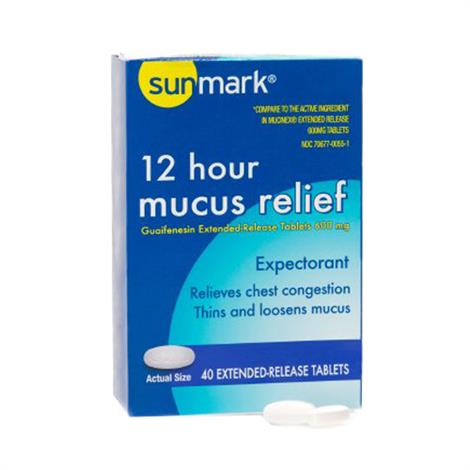 Mckesson Sunmark Mucus E.R. Cold and Cough Relief Tablet,1,200mg Strength,14/Pack,3798006