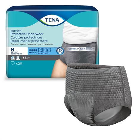 Tena Proskin Men Protective Underwear - Maximum Absorbency,Large,Fits Waist 45