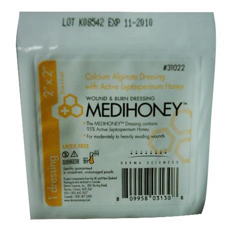 MEDIHONEY Calcium Alginate Dressing with Active Leptospermum Honey,2 X 2 Inch,100/Case,31022