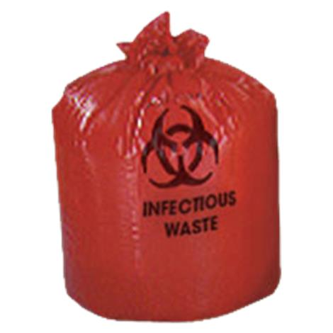 Colonial Biohazard Red Liners,24 x 24,1.2 mil,10 gal,500/Case,HXR24-50