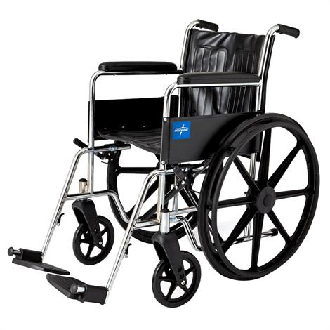 Medline Excel 2000 Narrow Wheelchair,Permanent Full Length Arms,Elevating Detachable Legrests,Each,MDS806200N