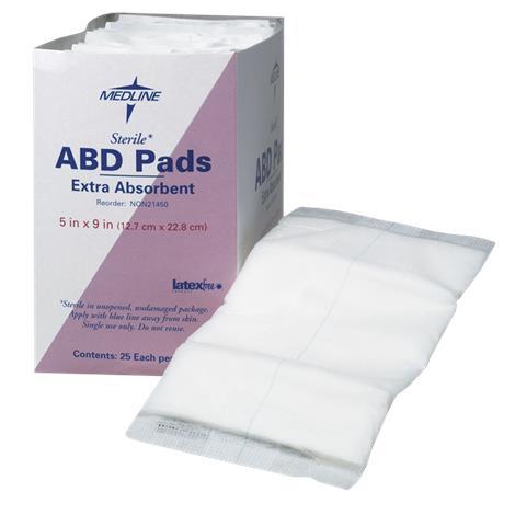 "Medline Super Absorbent Sterile Abdominal Pads,5"" x 9"" (12.7cm x 22.9cm),25/Pack,NON21450H"