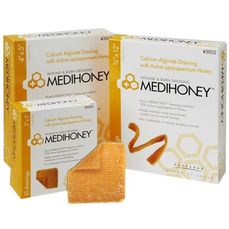 """Derma Sciences Medihoney Calcium Alginate Dressing,2"""" x 2"""" Sheet,100/Case,31022"""