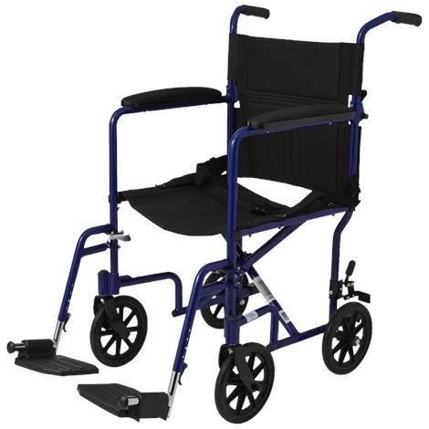 "Medline Basic Aluminum Transport Chair With Eight Inch Wheels,Blue,Seat 19""W x 16""D,Each,MDS808200ABE"