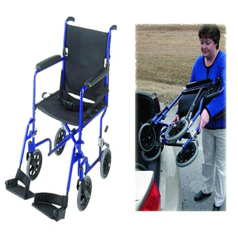 "Mabis DMI 19 Inches Ultra Lightweight Aluminum Transport Chair,Royal Blue,Seat 19""W x 16""D,Each,501-1052-2100"