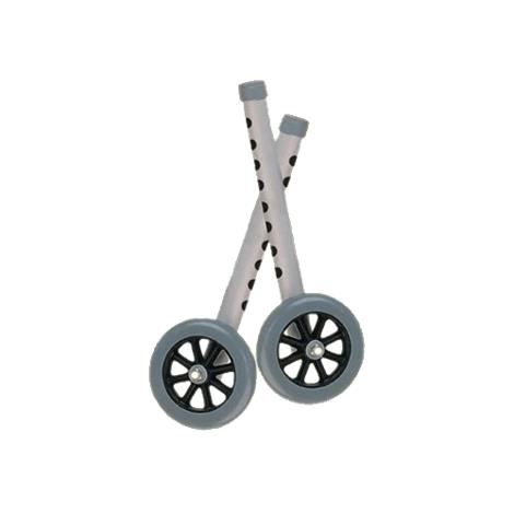 Drive Five Inch Walker Wheels with Two Sets of Rear Glides for Use with Universal Walker,Blue tubing,black tire and silencer,Pair,10128BL