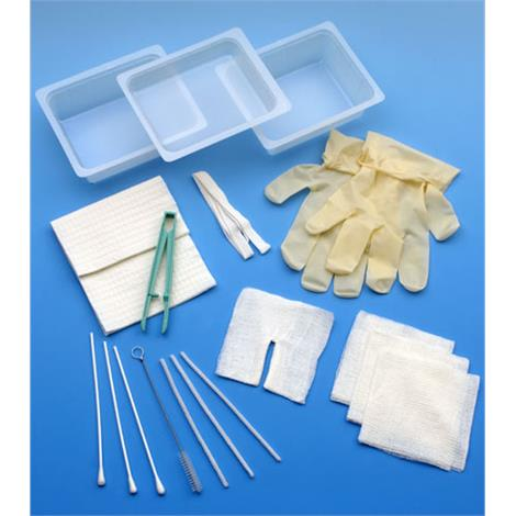 CareFusion AirLife Complete Tracheostomy Cleaning Tray,With 2 Vinyl Gloves,20/Case,4681A