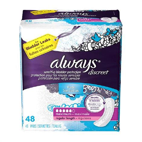 Always Discreet Maxi Contoured Liner Incontinence Liner - Moderate Absorbency,Contoured,Regular,14/Pack,3700088726