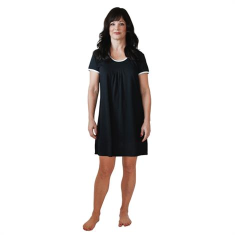 Cool-Jams Moisture Wicking Pleated Front Short Sleeve Nightie,2X-Large,Black,Each,T4970