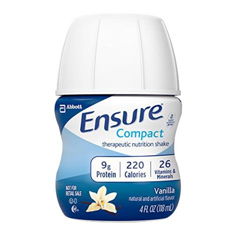 Abbott Ensure Compact Therapeutic Vanilla Shake,Vanilla,4fl oz (118mL) Bottle,24/Case,64356