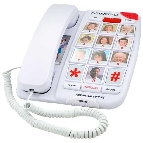 Future Call Picture Care Memory Corded Amplified Phone,Picture Care Phone Without Speaker,Each,FC-1007