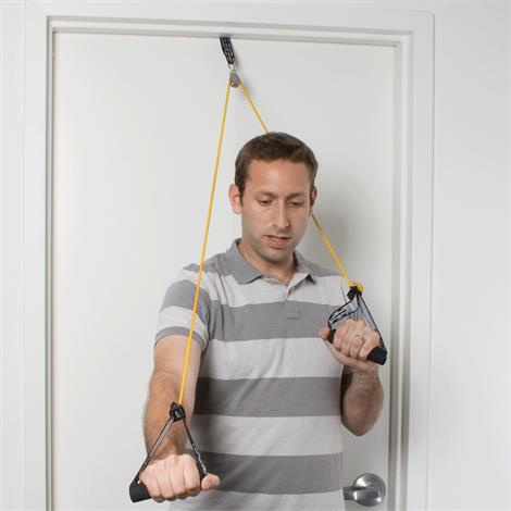 CanDo Shoulder Pulley With Exercise Tubing And Handle,Heavy Strength,Blue,Each,#10-5043