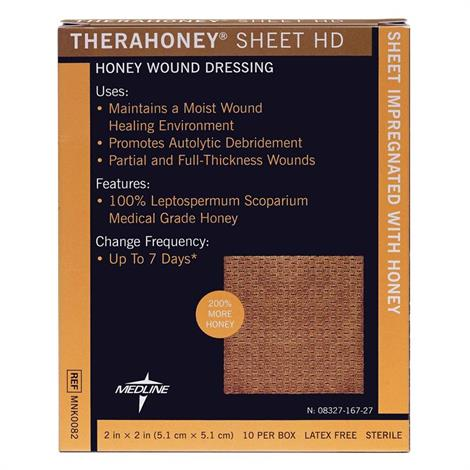 "Medline TheraHoney Sheet HD Honey Wound Dressing,Rectangle,4"" x 5"" (10.2cm x 12.7cm),10/Pack,MNK0087"