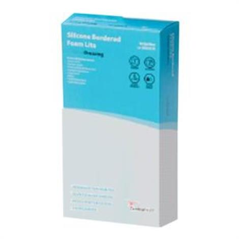 """Cardinal Health Silicone Bordered Foam Lite Wound Dressing,1.6"""" x 2"""",10/Pack,BFM22LTE"""