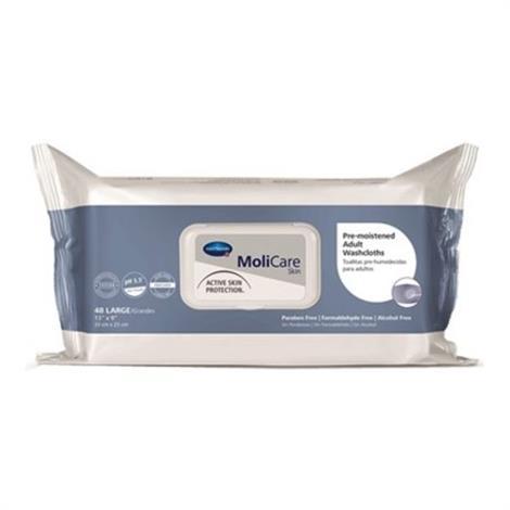 "Hartmann-Conco MoliCare Skin Pre-Moistened Adult Washcloth,9"" x 13"",48/Pack,12Pk/Case,225600"