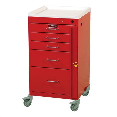 Harloff Five Drawer Aluminum Mini Line Emergency Cart With Breakaway Lock,Beige,Each,AL3245B-EMG-BG