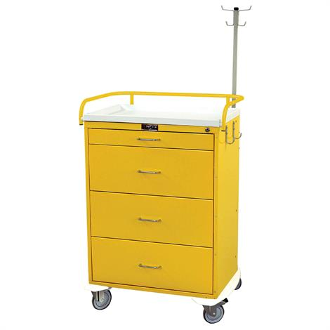 Harloff Classic Tall Four Drawer Infection Control Cart With Key Lock,Yellow,Each,6521-YL