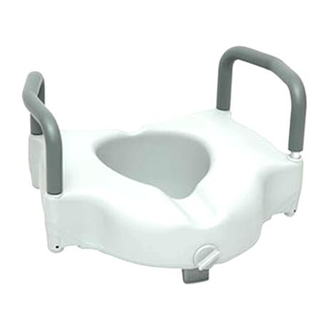 ProBasics Raised Toilet Seat With Lock And Arm,White,Each,PMIBSRTSLA