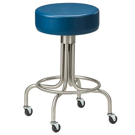 Clinton Stainless Steel Stool with Casters and Upholstered Top,Allspice (3AS),Each,SS-2142