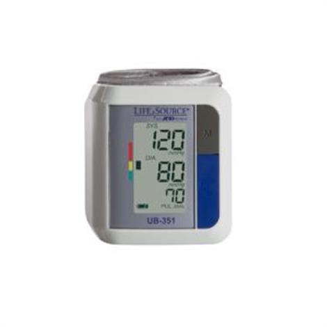 "A&D Medical LifeSource Automatic Wrist Pressure Monitor,Wrist Circumference 5-1/4"" to 8-1/2"",Each,UB-351B"