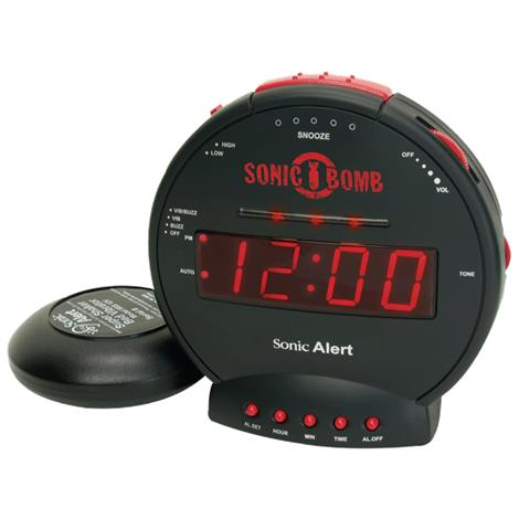 Sonic Bomb Alarm Clock with Bed Shaker,5-1/2W x 3-1/8D x 5-1/2H,Each,SBB500ss