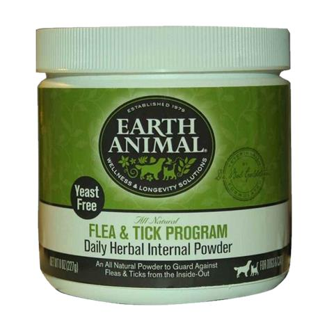 Earth Animal Flea and Tick Program Daily Herbal Internal Powder,Flea and Tick Control,Dogs and Cats,8 oz,Each,857253000000