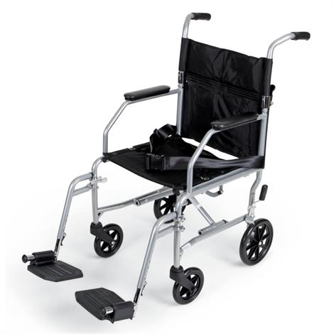 "Medline Basic Steel Transport Wheelchair,19"" Width,Gray,Each,MDS808200E"